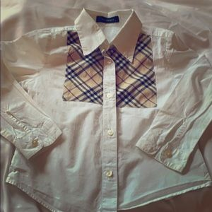 Long sleeved button down Burberry collared shirt